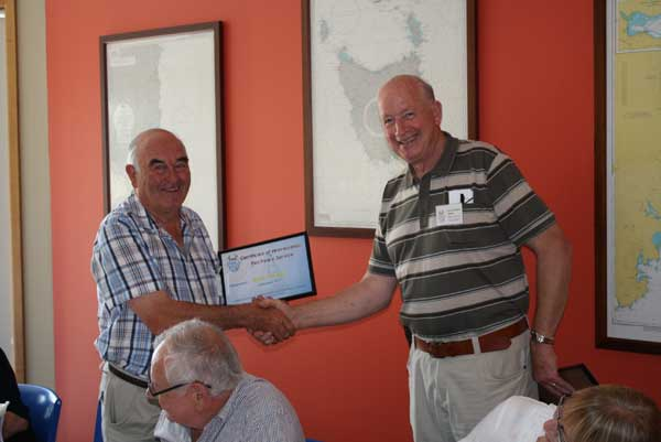 John Parsell receiving 10 year award